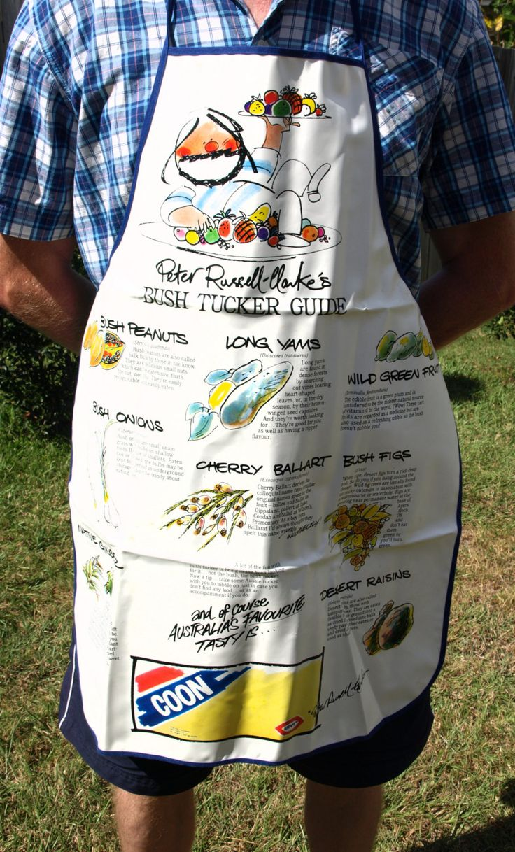Peter Russell Clarke Bush Tucker BBQ Apron - 80s Come and Get It - G'Day Where's the Cheese Grill Apron - Made in Australia by FunkyKoala on Etsy