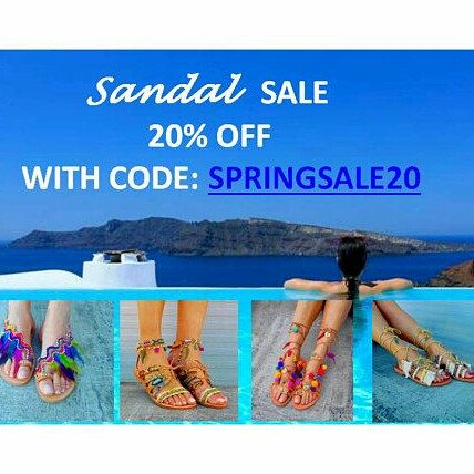 For a limited time, enjoy ALL our sandals with a 20% discount!  Use coupon code: SPRINGSALE20 during check out!