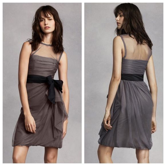 Vera Wang Bridesmaid Dress Bobbin Net Dress with Illusion Neckline. Comes with Black sash. (Worn Once) **EUC** Vera Wang Dresses