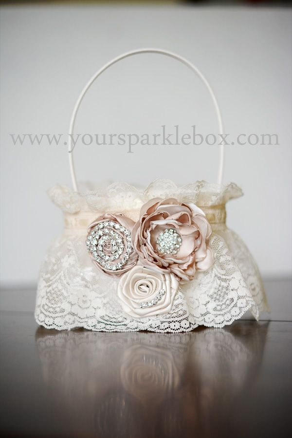 Champagne Vintage Flower Girl Basket