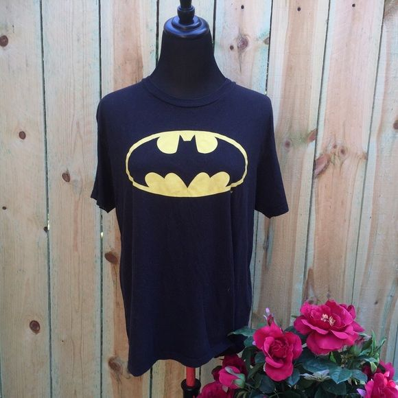 Previously Loved Classic Black Batman Tee In good condition.  Black is lightly faded.  Although medium, can fit large size as well. Hot Topic Tops