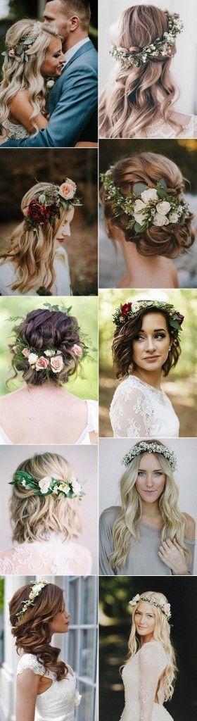 18 bellissime acconciature da sposa con corona di fiori