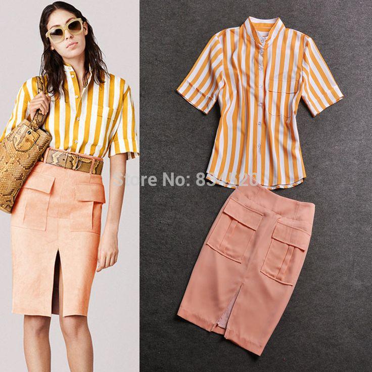 Поездка оранжевый полоска рубашка + щели длиной до колен юбка женщина комплект офис-леди приталенный Fit комплект(China (Mainland))