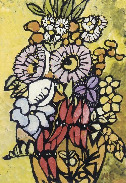 Margaret Preston   Colour stencil  'Native flowers'  1949