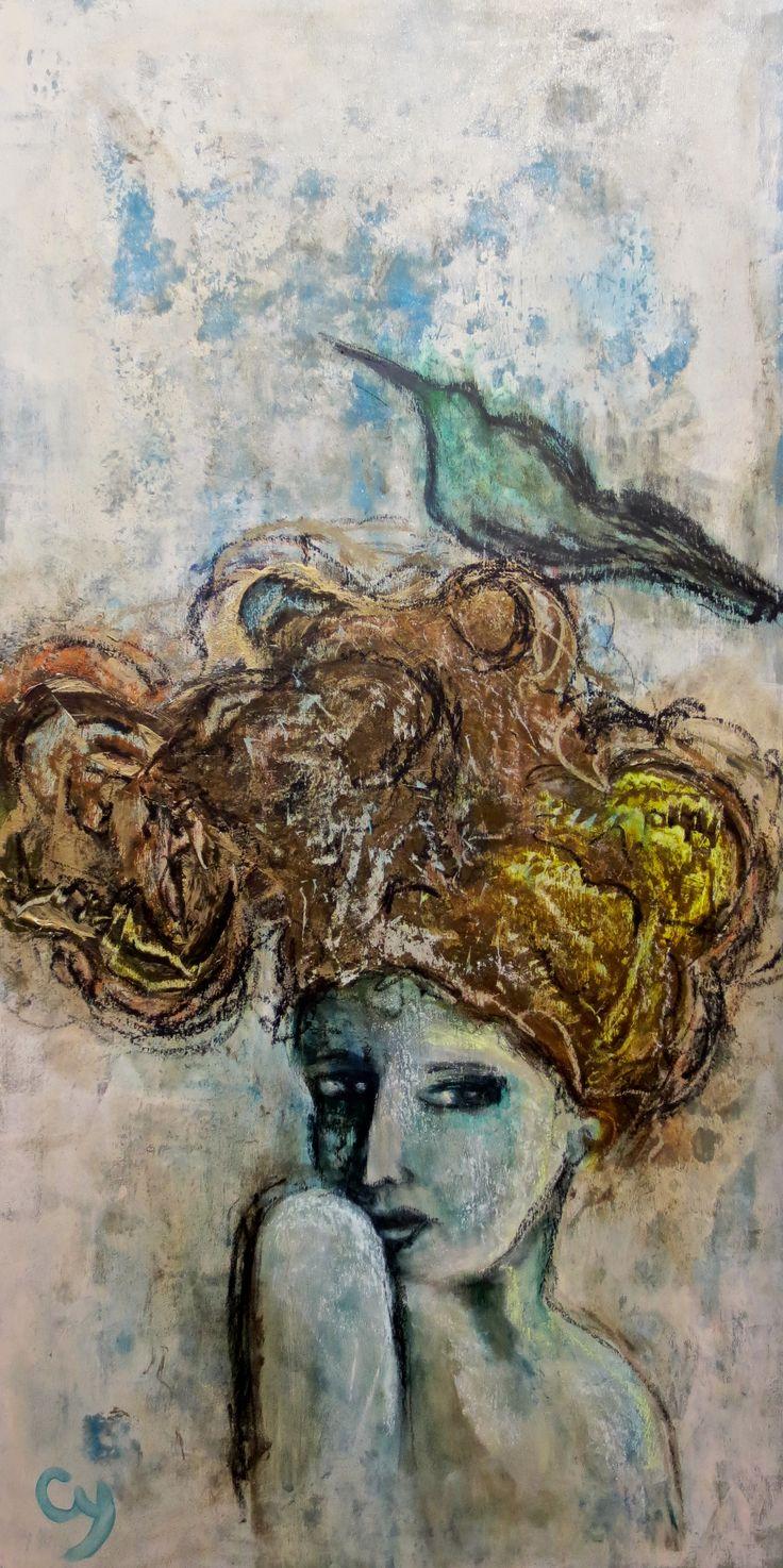 Vertige par Christyne Proulx /©2016/ technique mixte sur bois/ 24X48 / figurative, contemporary art, acrylique, art painting, Street Art (Urban Art), Canvas, Women, bird, Portraits, femme, oiseaux, street art, patchwork, peinture, contemporain, abstrait, tableau street art,expressionnisme