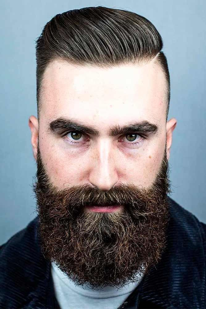 Classic Comb Over Haircuts Brown Side Part Beard Many Barbers