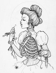 искусство, темно, рисунок, скелет, мягкий гранж