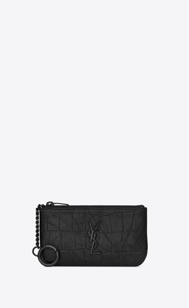 64300b1f8ad SAINT LAURENT Monogram SLG Man key pouch in black crocodile embossed leather  a_V4