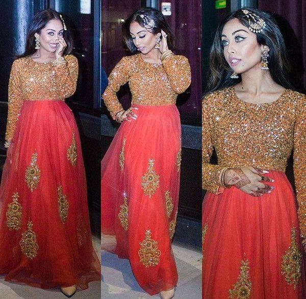 Bollywood Two-Piece hand made orange peach A Line Dress - Dubai Femina Fashion