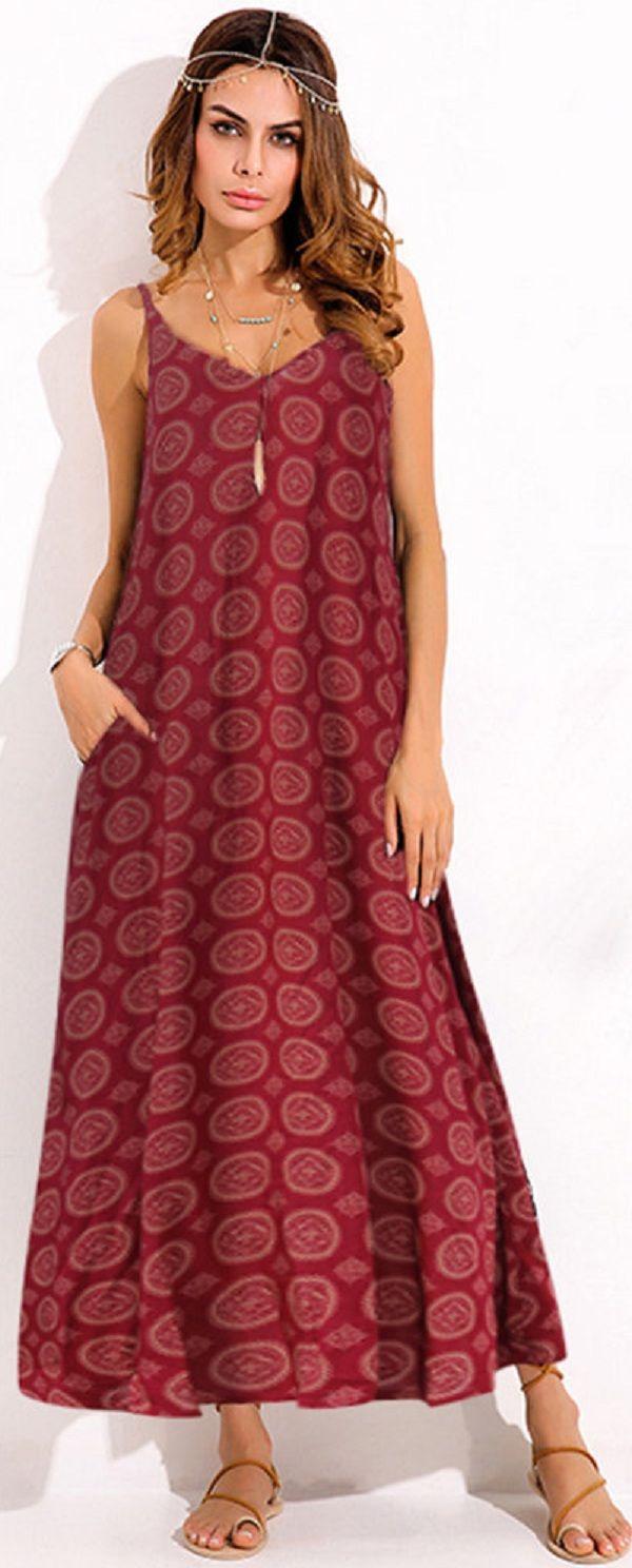 US$ 18.54 O-NEWE Bohemian Women Sexy Spaghetti Strap Printed V-neck Maxi Dress