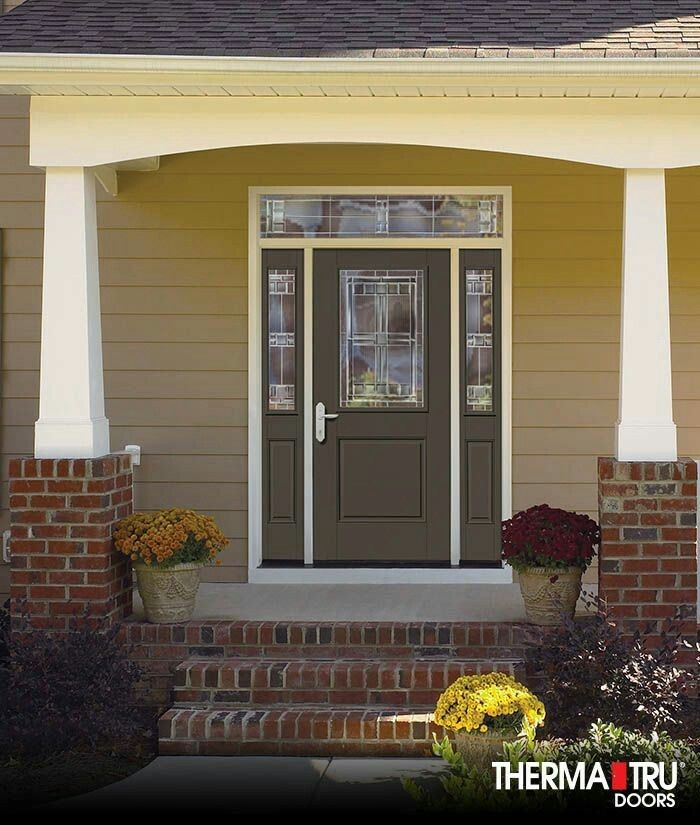 Therma Tru Smooth Star Fiberglass Door Painted Black Fox With Saratoga  Decorative Glass.