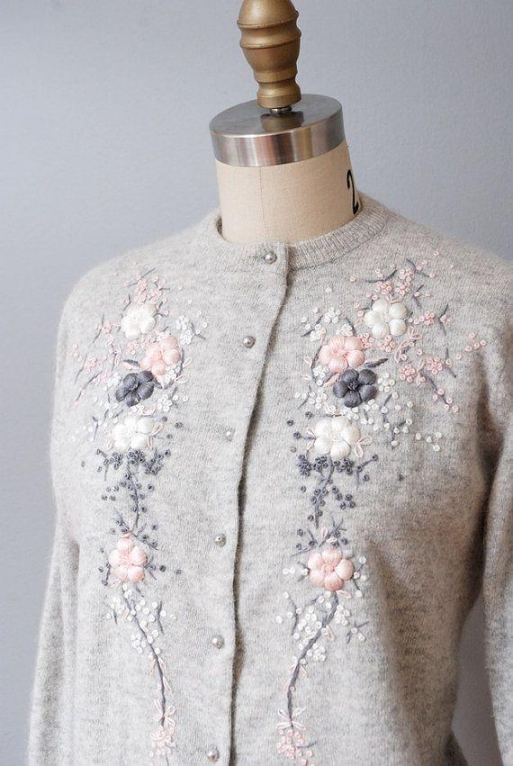 1950s Cardigan Sweater  Gray Angora by OldFaithfulVintage on Etsy, $40.00