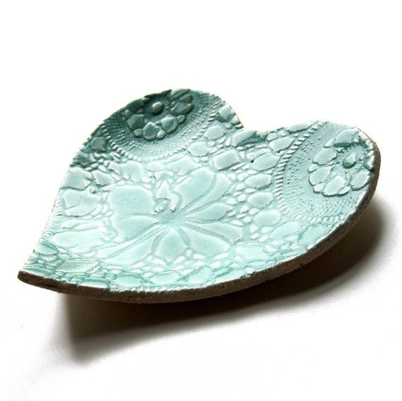 Seafoam heart plate in turquoise blue stoneware by PrinceDesignUK, $23.00