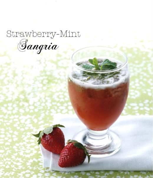 ngredients {For 1 serving} *5 grams mint leaves, plus extra for garnish *1/4 cup + 2tbsp of Sangria {combination of 1 bottle of white wine, 1/4  cup brandy and 1 cup orange juice} *1/4 cup strawberry puree *Fresh strawberries to garnish, optional *Ice cubes http://www.everythingfab.com/2011/05/time-for-drink-strawberry-mint-sangria.html