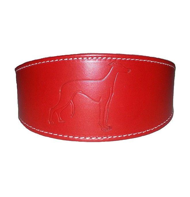 Collar para galgo cuero Rojo