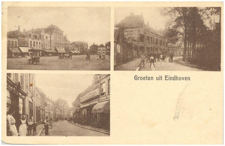 Collage van drie foto's waarop: 1. Markt met ijskar. 2. Emmasingel. 3. Demer, 1900 - 1910