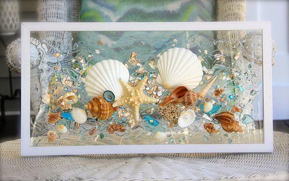 Seaglass Glass Art Beach Decor Seashellart Wallart Nauticaldecor Irish Scallop Seaside Seasid Seashell Wall Art Sea Glass Art Seashell Wall Decor