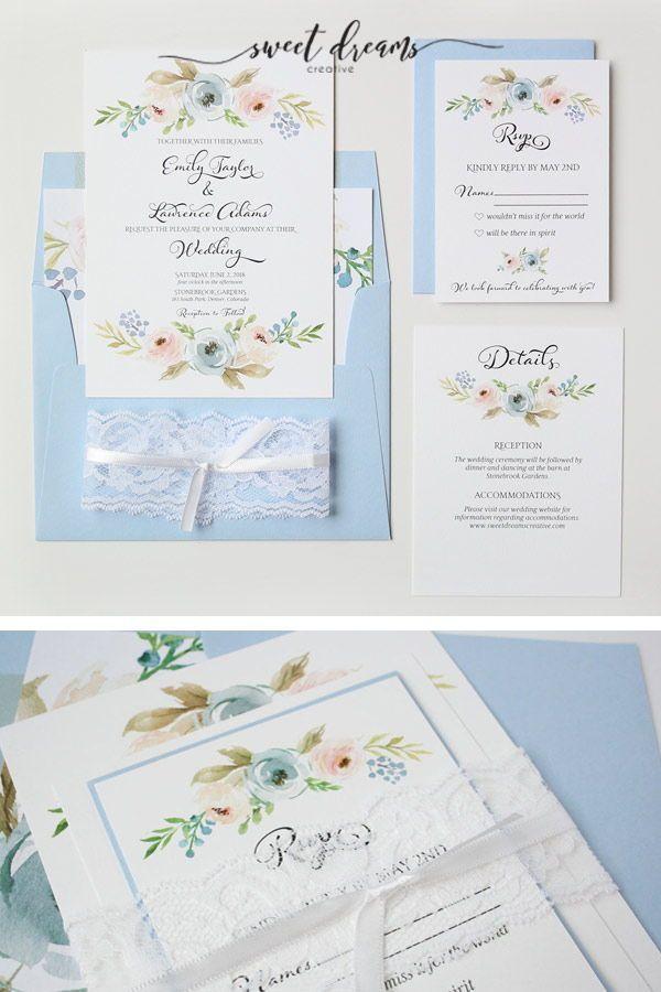 Dusty Blue Harper Wedding Invitation Suite Sweet Dreams Creative Light Blue Wedding Invitations Wedding Invitations Blue Wedding Invitations