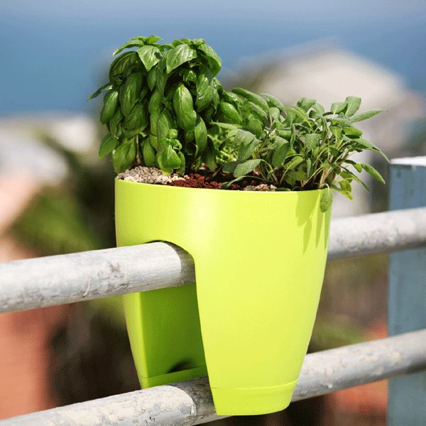 the railing planter holds securely to railings of any shape and provides a unique balcony or - Railing Planters