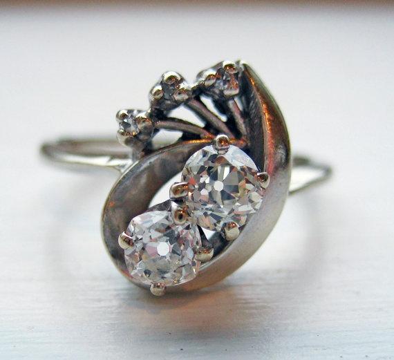 Vintage Diamond Ring 14kt White Gold 3/4ct by baffy21 on Etsy