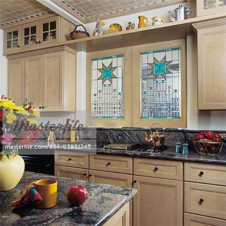 KITCHENS   View Towards Cooking Stove Top, Granite Counter Tops, Stained  Glass Windows Over