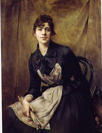 """Self Portrait with Apron and Brushes, 1887, by the Polish painter Anna BILINSKA-BOHDANOWICZ(1857-1893) © National Museum in Cracow, Not """" Rosa Bonheur, Self Portrait. """""""