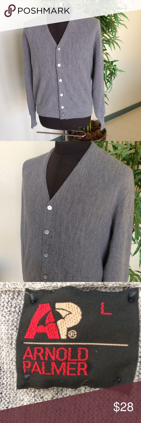"""Vintage Arnold Palmer Gray Cardigan Golf Sweater True vintage gray cardigan sweater - perhaps for a round of golf! Maker:  Arnold Palmer Fabric: 100% Orlon Acrylic Listed Size:  Large Measurements: Shoulder seam to shoulder seam: 19"""" Armpit to armpit:  24"""" Sleeve Length: 26"""" Length: 25"""" Condition:  Very good pre-owned used but not abused vintage condition and coming from a non smoking home. C14 Vintage Sweaters Cardigan"""