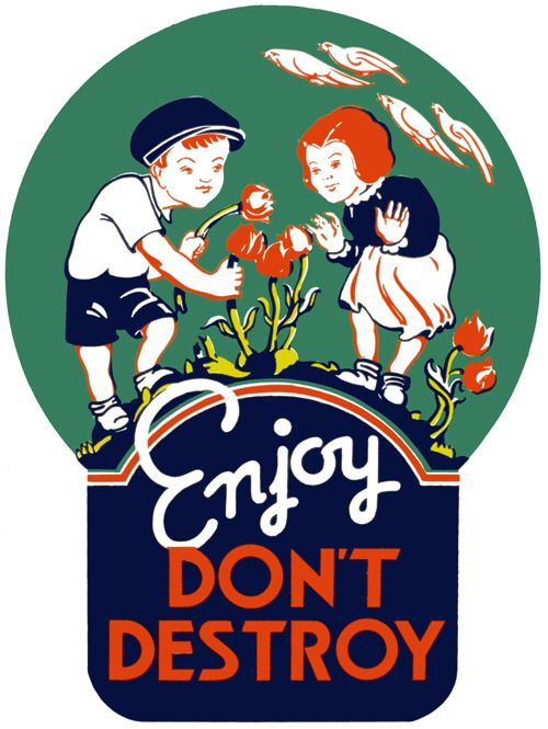 A poster showing two very bad children picking flowers: 'Enjoy. Don't destroy.' Created in 1936 or 1937 as part of the Ohio WPA Federal Art Project.