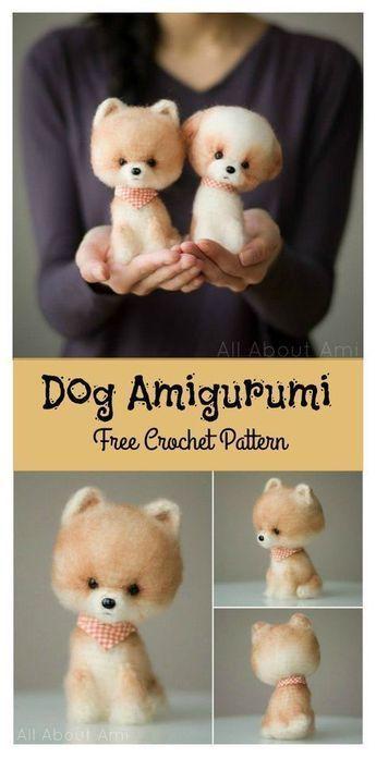 Little Fluffy Dog Amigurumi Free Crochet Pattern ##freecrochetpatterns #amigurum…