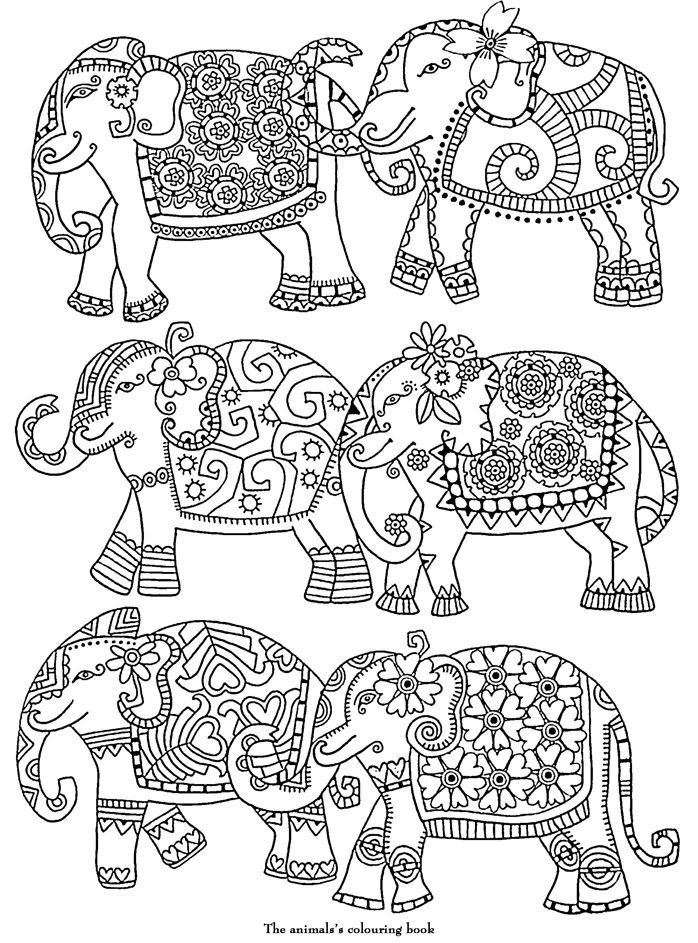 Elephants abstract doodle zentangle zendoodle paisley for Paisley elephant coloring pages