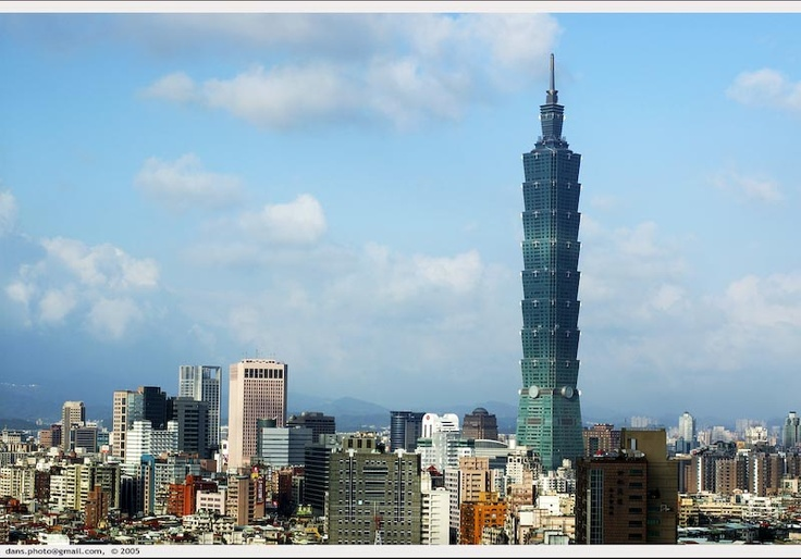 Taipei 101 Tower in Taiwan.  Built in 2004, 101 stories, height 509 meters.
