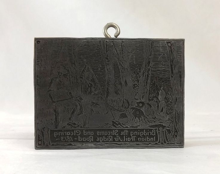 Vintage Newspaper Story Printer's Block, Metal Print Plate, News Story Wood Stamp, Clearing Indian Trail for Ridge Rd 1813 Rochester, NY by MomsantiquesNthings on Etsy