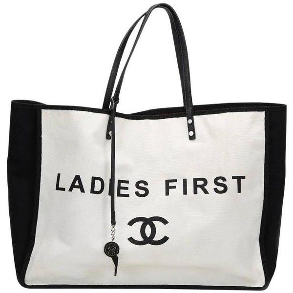 Preowned 2010s Chanel Black & White Canvas Ladies First Shopper Tote ($2,383) ❤ liked on Polyvore featuring bags, handbags, tote bags, chanel, totes, white, black and white purse, white tote, shopping tote bags and black and white handbags