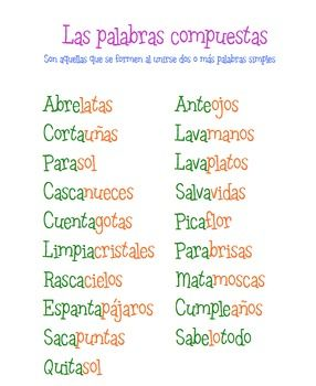 Anchor chart for compound words in Spanish. Freebie