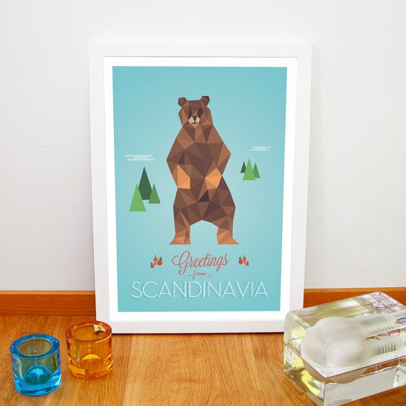 Greetings from Scandinavia poster, Nursery art print, Kitchen decoration, Animal poster, Grizzly bear A3 print sur Etsy, 14,00 €