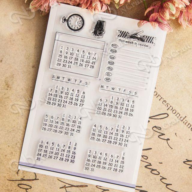 Calendrier Hebdomadaire En Examen Clair Silicone Timbres pour BRICOLAGE Scrapbooking Photo Album Décoratif Cartes En Caoutchouc Transparent Timbre