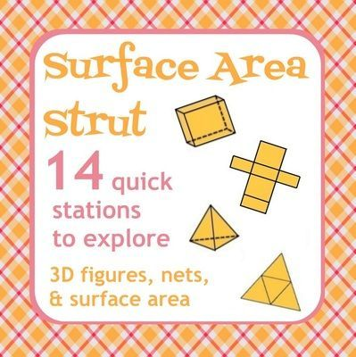 "Surface Area Strut - Nets, 3D figures, Surface Area - Active Math from Mathematic Fanatic on TeachersNotebook.com -  (9 pages)  - Want to make surface area fun and keep your student active?  Well let your students ""strut"" around the room as part of the Surface Area Strut activity!"