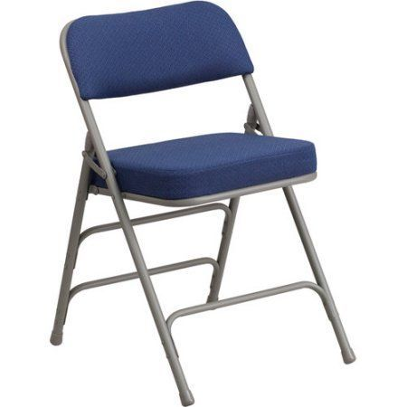 Flash Furniture Hercules Series Premium Curved Triple Braced and Double Hinged Pin-Dot Fabric Upholstered Metal Folding Chair, Multiple Colors, Gray
