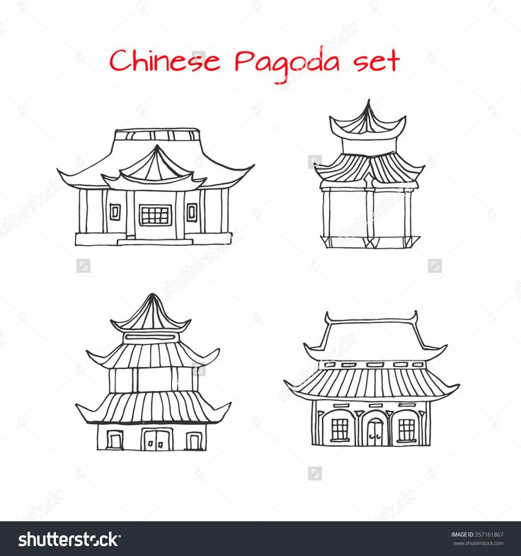 Hand drawn set with detached Asian traditional Chinese houses. Black and white chinese pagoda. Vector stock illustration. funny kids style. Japanese, Vietnamese building.