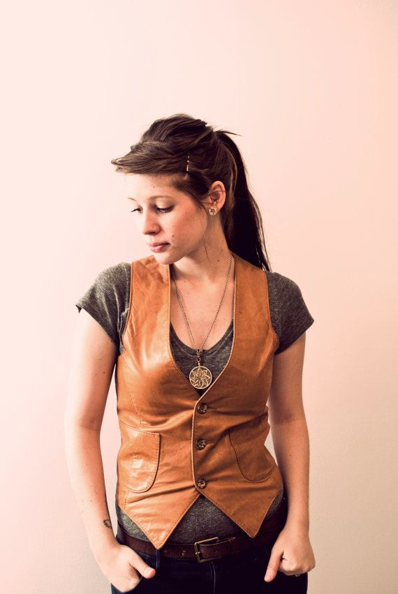 love this brown leather vest