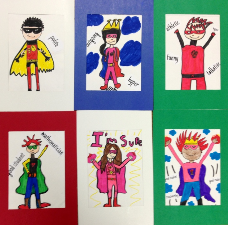 Super Hero Portraits - good examples to go along with 3rd super hero drawings & model magic sculptures