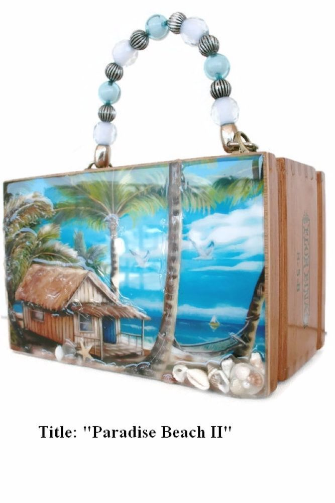 """Lowest Price! The Best  Cigar Box Purse w/ """"Paradise Beach""""  Oil Painting."""