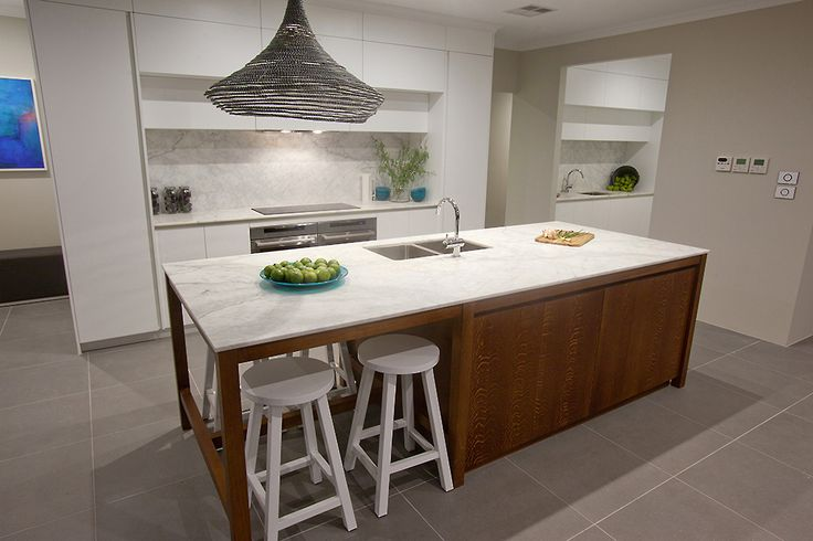 This beautiful kitchen is part of the Southport Platinum display home, designed and built by Home Group WA.
