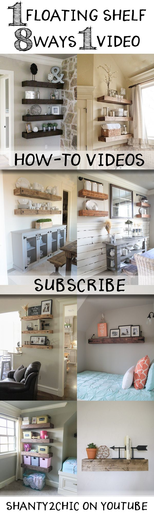 Learn how to build custom floating shelves with this how-to video! One floating shelf done 8 different ways and it's easier than you think! Make sure to subscribe - new videos coming weekly!