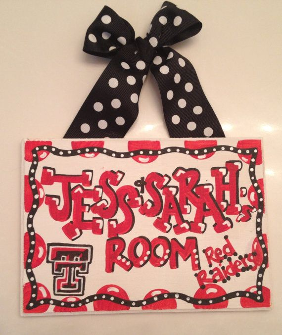 Texas tech university red raiders Dorm Room Sign, Hand painted graduation or birthday gift dorm decor customize any school
