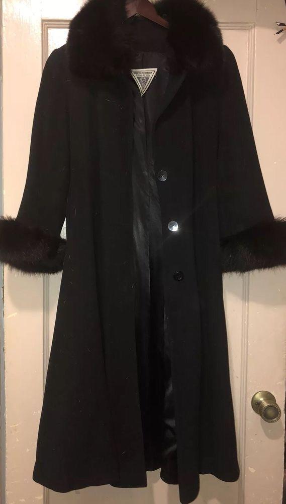 united kingdom price reduced great deals 2017 Vintage Marvin Richards Black Fox Fur Trim Lambswool Wool Coat ...