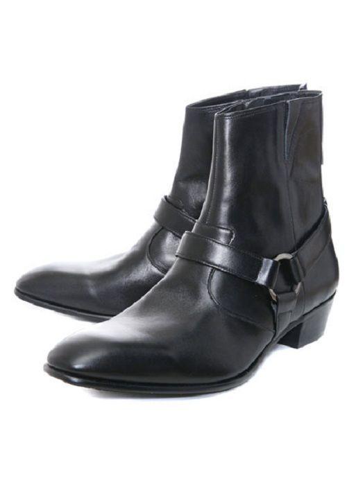 f1323eb5faf Handmade Men Black Side Zipper Boot, Men Biker Leather Boot,Men ...