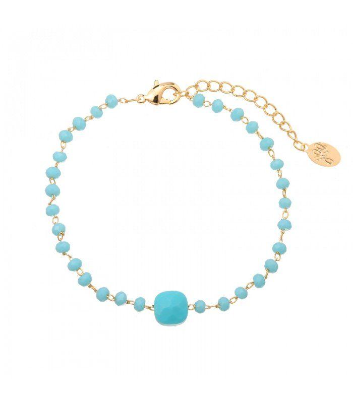 Blauwe armband van kleine kralen|gold plated armbanden koop je online | Yehwang fashion en sieraden