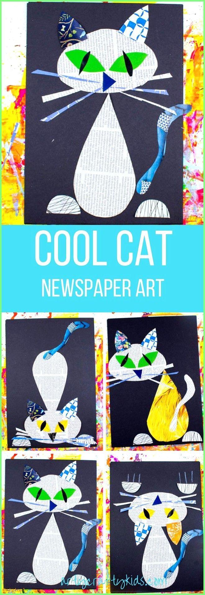 50+ Diy Crafts – Arty Crafty Kids | Kunst | Kühle Katzen-Zeitungs-Kunst für Ki…