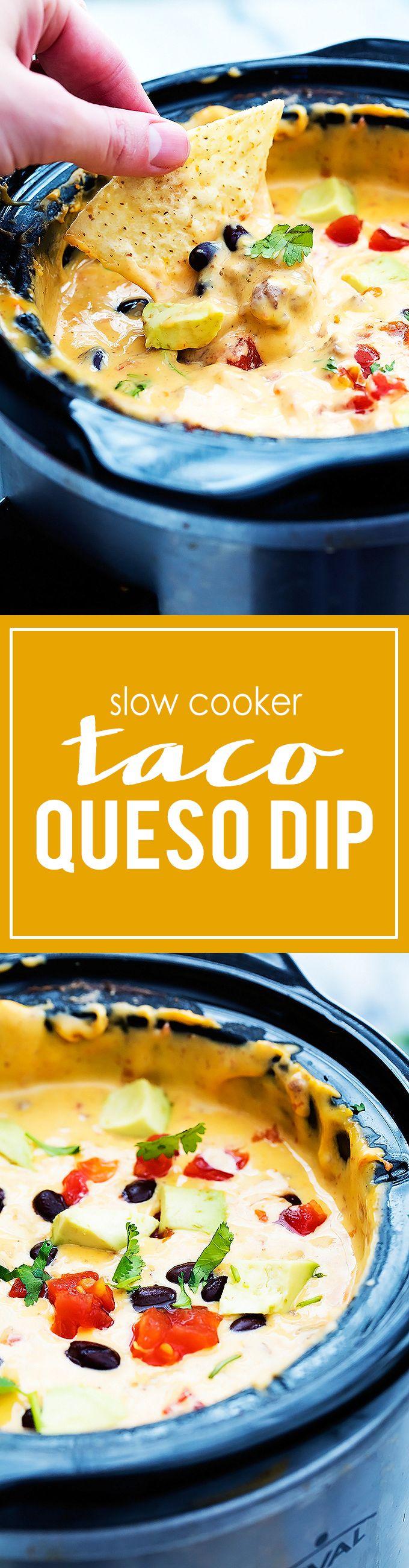 Slow Cooker Taco Queso Dip | Creme de la Crumb
